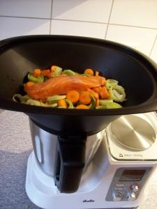 Gemüse mit Lachs